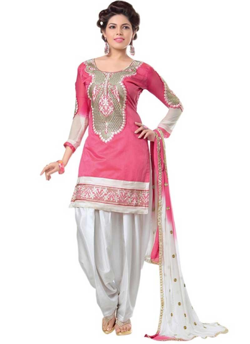1046318b86 Glossy Off White And Pink Embroidery Work Panjabi Dress.