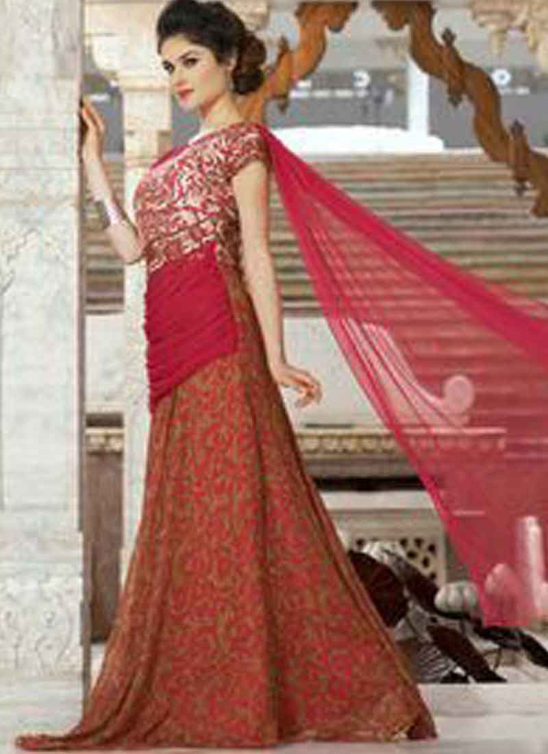 e85bb43e55fd8 Marvelous Magenta Embroidery Work Georgette Print Evening Designer Gown