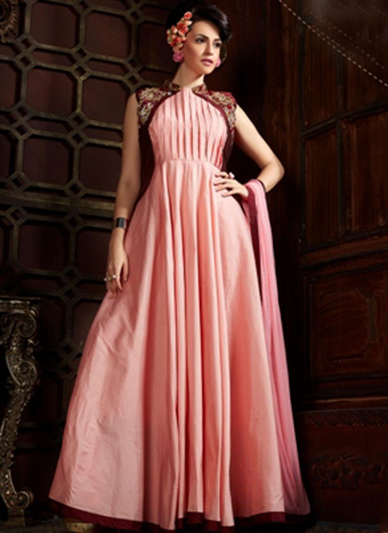 Peach Embroidery Work Tapeta Silk Net Designer Long Fancy Gown. Buy ...