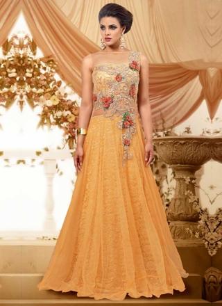 Mustard Embroidery Work Georgette Net Designer Fancy Long Wedding Gown