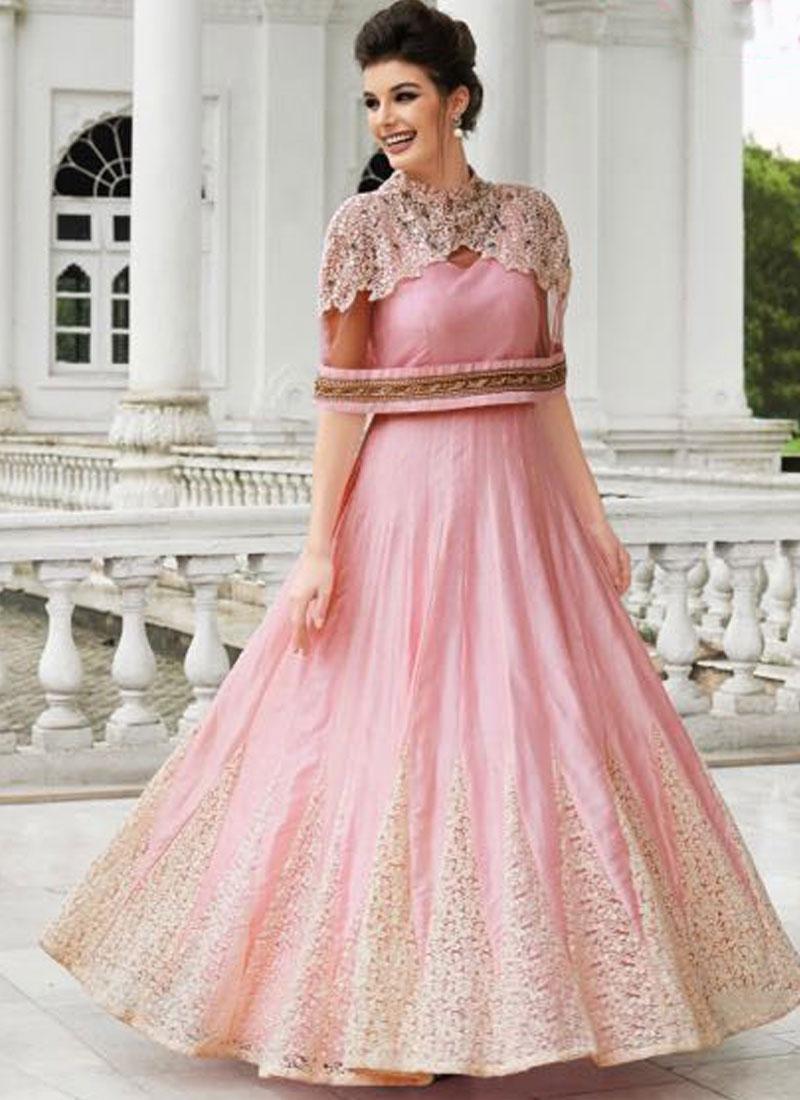 e3f8c2224d Pink Embroidery Work Raw Silk Net Designer Long Anarkali Gown. Buy ...