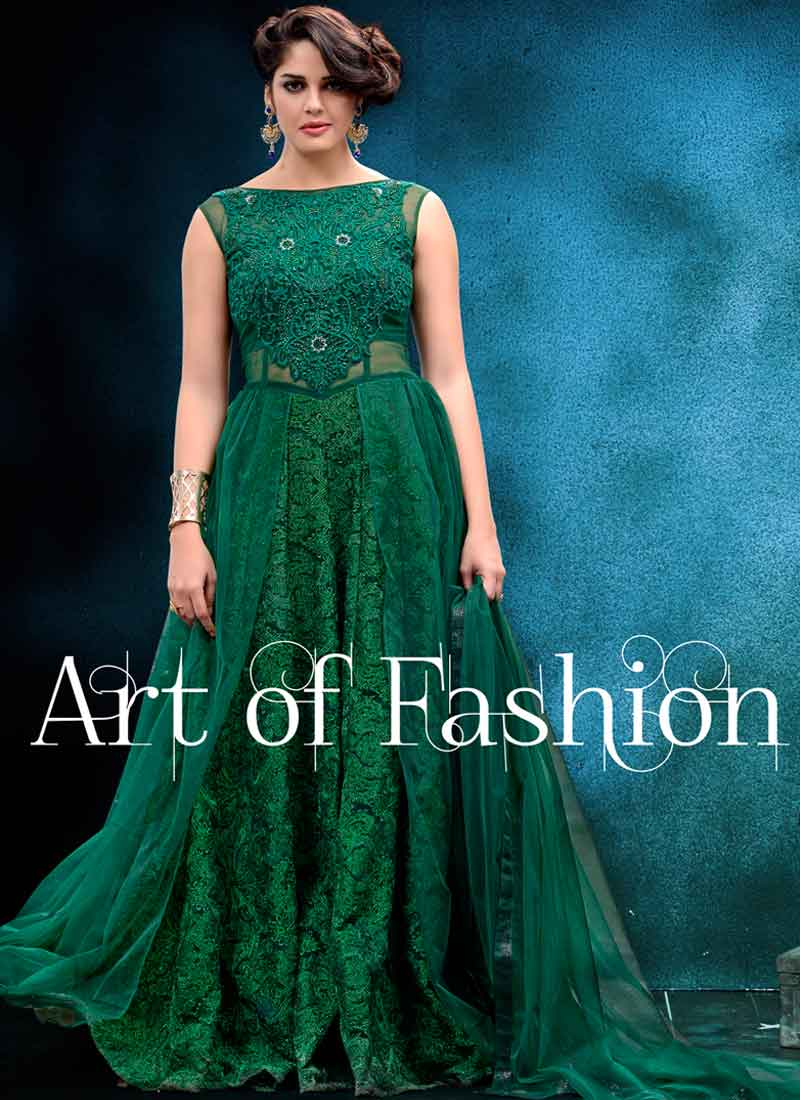 Gorgeous Green Diamond Work Net Party Wear Evening Gown.Online net ...
