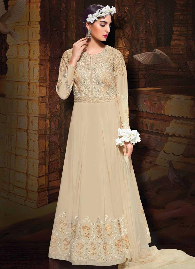 9564454e56 Beige Embroidery Work Taffeta Silk Designer Long Fancy Gown. Buy ...