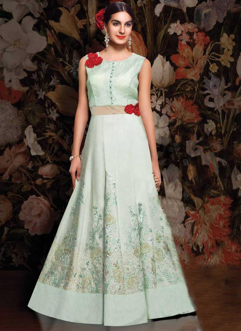 e59900567d6 Turquoise Embroidery Work Taffeta Silk Designer Long Fancy Gown. Buy ...