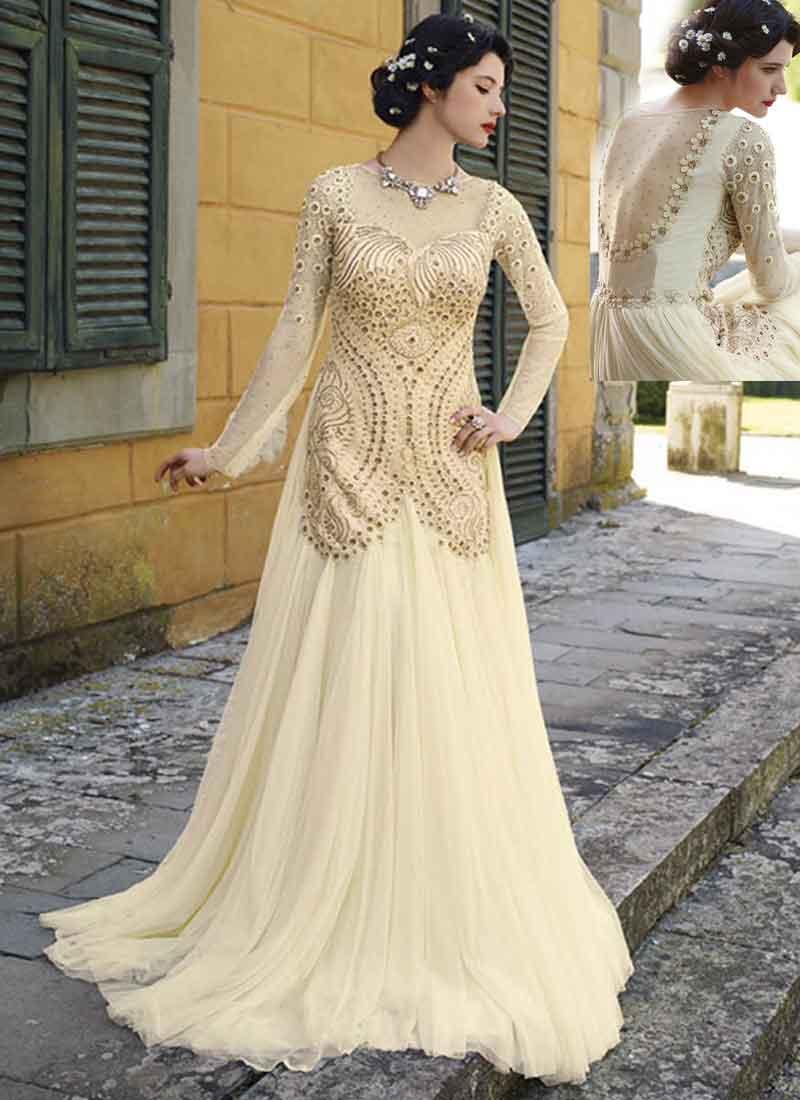 d165c38f5af2 Organic Off White Thread Diamond Work Net Wedding Gown.Online ...