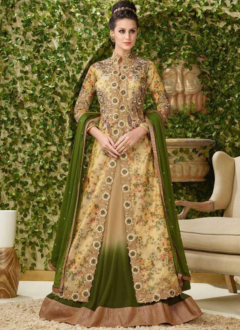 c3dd589c6c Beige Mehandi Green Embroidery Work Print Fabric Georgette Long Lehenga Gown