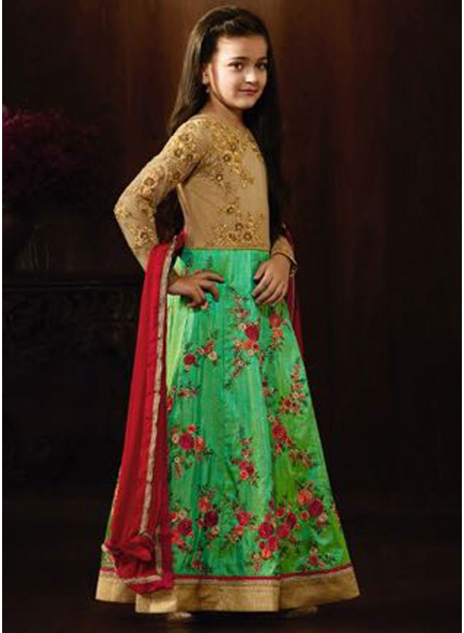 Green Red Embroidery Work Raw Silk Net Designer Kids Anarkali Long Suit