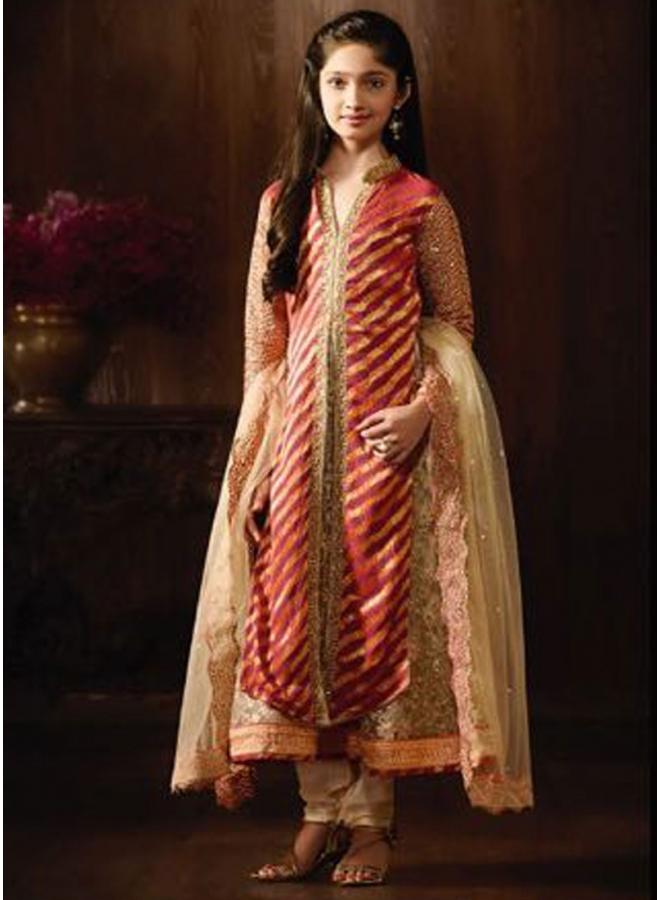 Pink Beige Embroidery Sequin Work Jacquard Net Designer Anarkali Long Suit