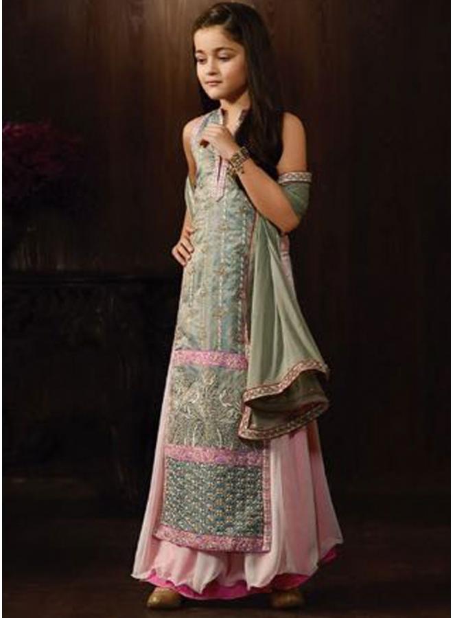 Pink Grey Embroidery Work Georgette Chiffon Designer Kids Anarkali Long Suit