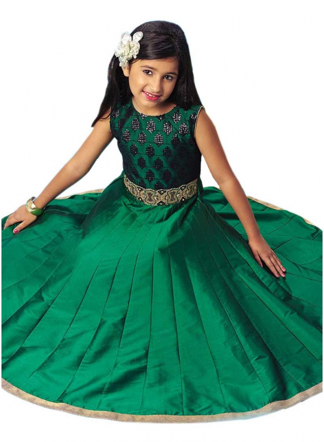 Green Embroidery Work Silk Designer Fancy Long Fancy Party Wear Kids Gown