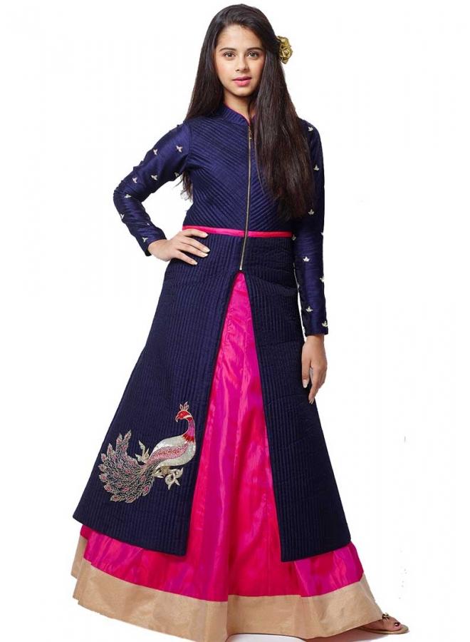 Navy Blue Magenta Embroidery Work Silk Designer Fancy Fancy Party Wear Kids Gown
