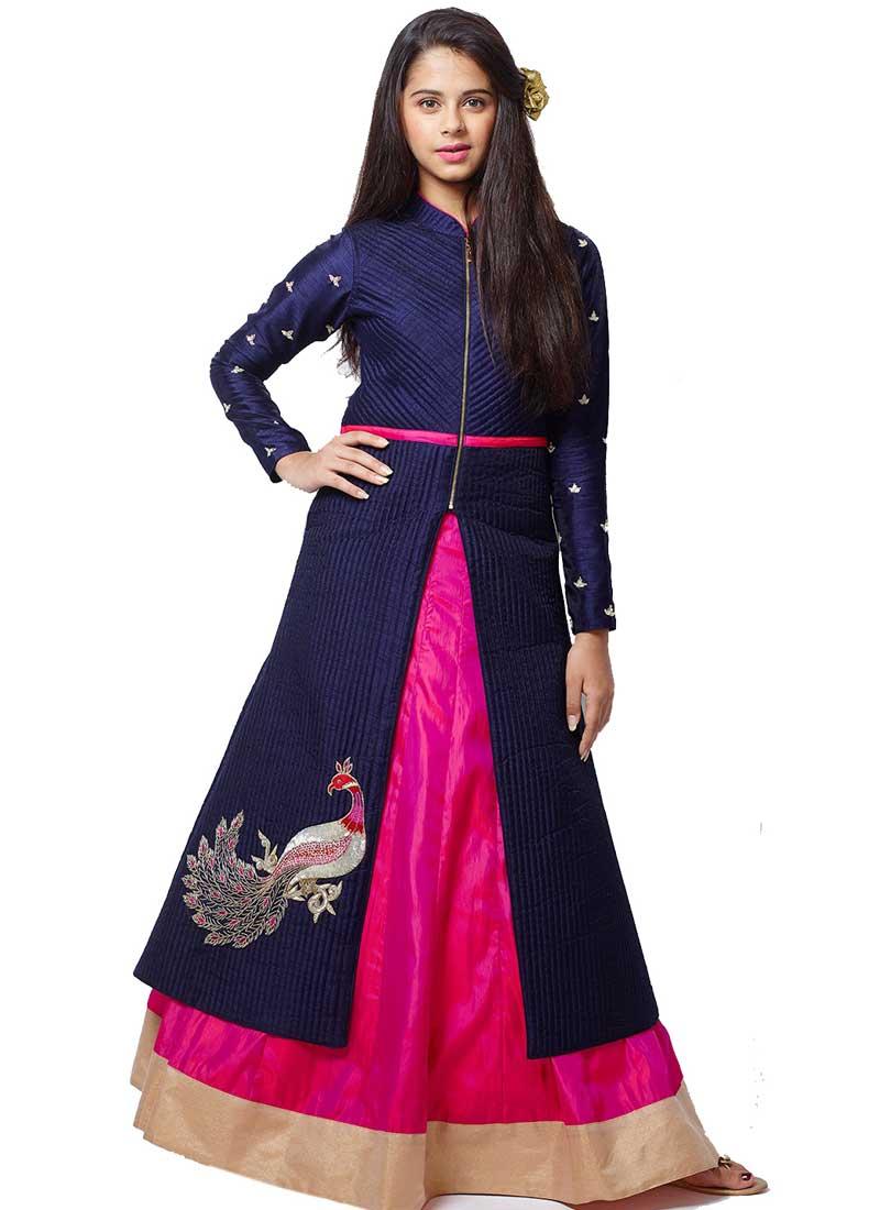 1c9fdadf99d Navy Blue Magenta Embroidery Work Silk Designer Fancy Fancy Party Wear Kids  Gown