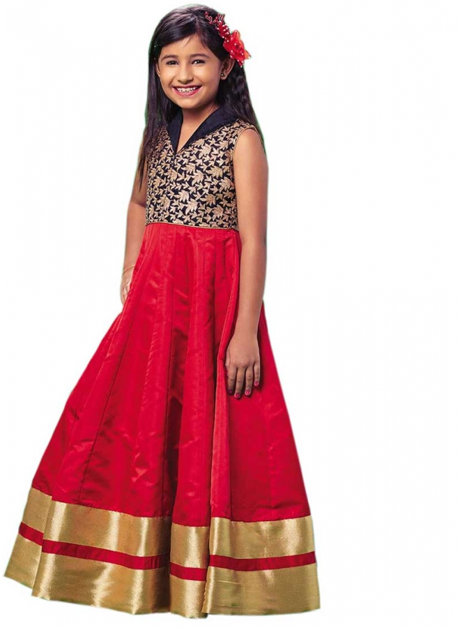 Red Embroidery Work Silk Designer Fancy Long Fancy Party Wear Kids Gown
