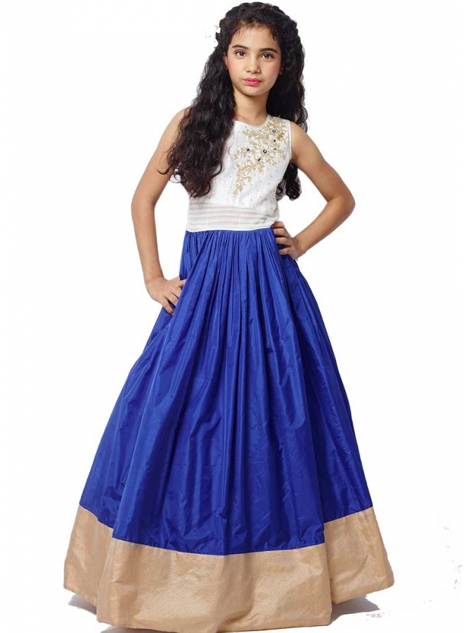 White Blue Embroidery Work Silk Designer Fancy Long Party Wear Kids Gown
