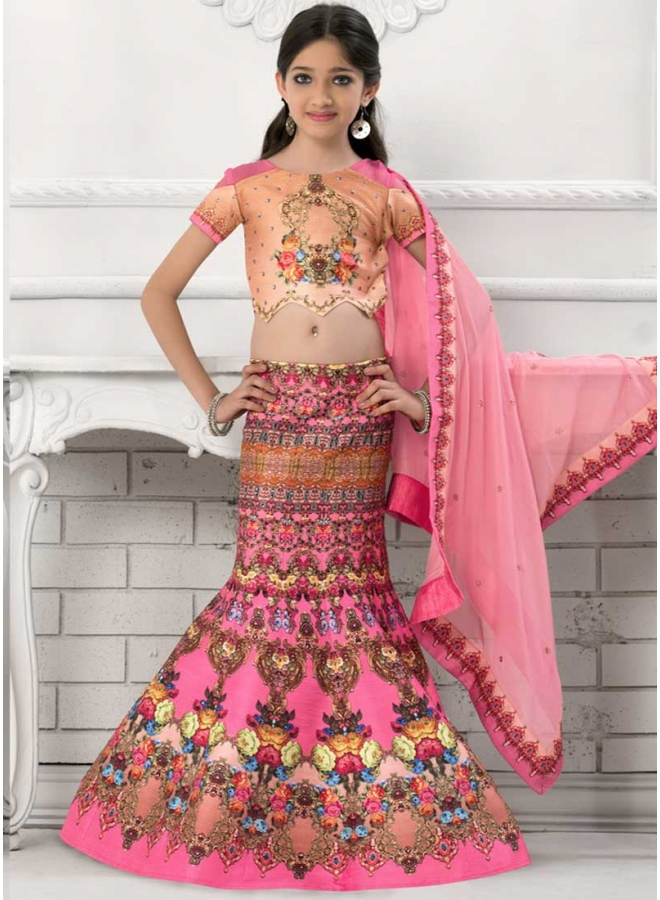 Pink Embroidery Work Lace Print Silk Chiffon Designer Kids Lehenga Choli