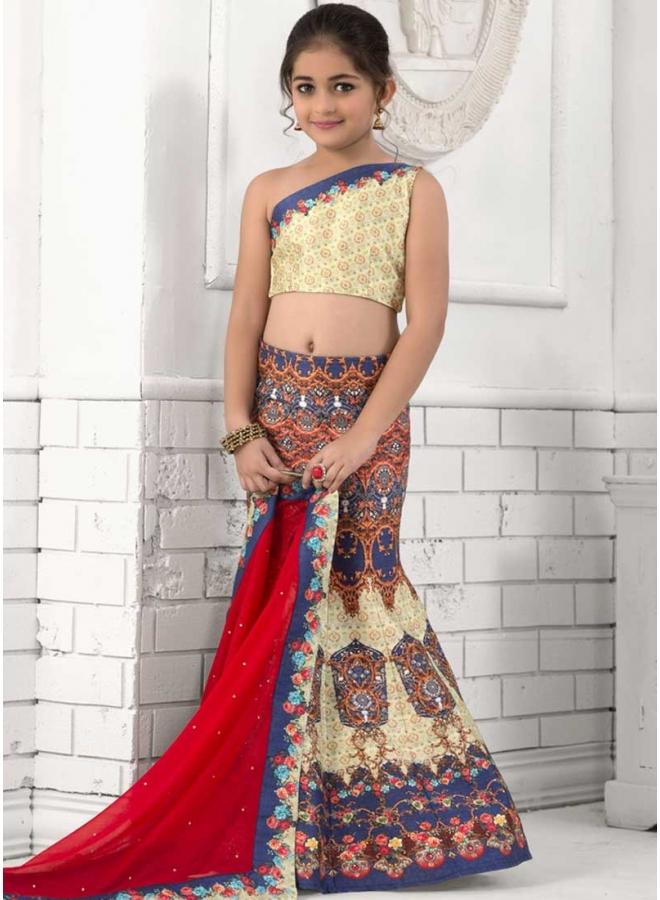 Red Blue Stone Work Lace Work Print Silk Chiffon Designer Kids Lehenga Choli