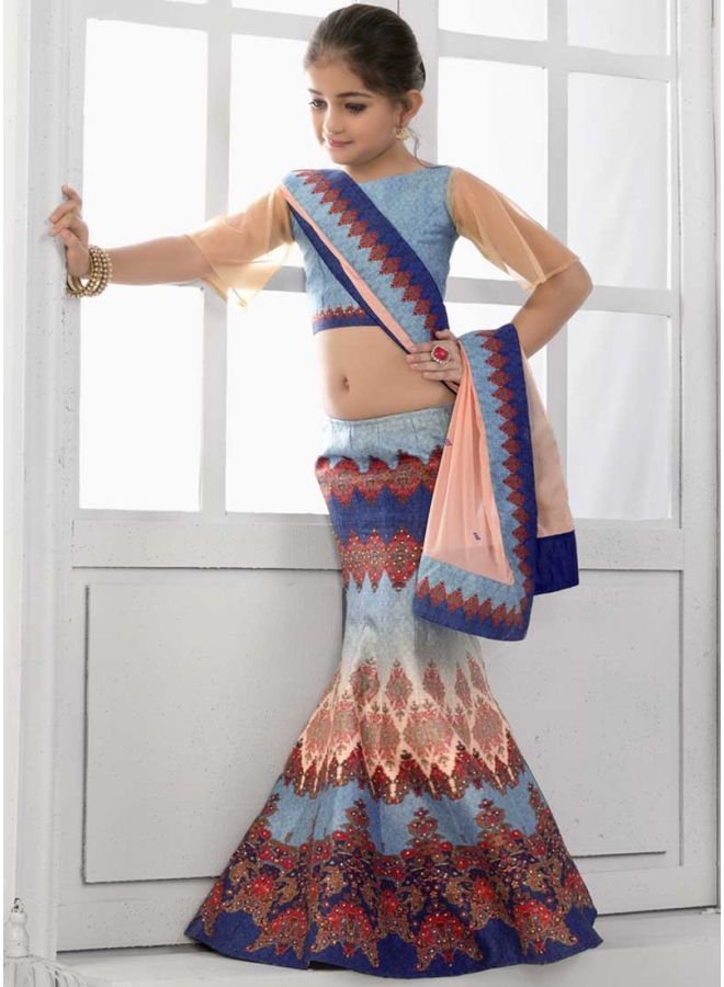 Sky Blue Stone Work Lace Work Print Silk Chiffon Designer Kids Lehenga Choli
