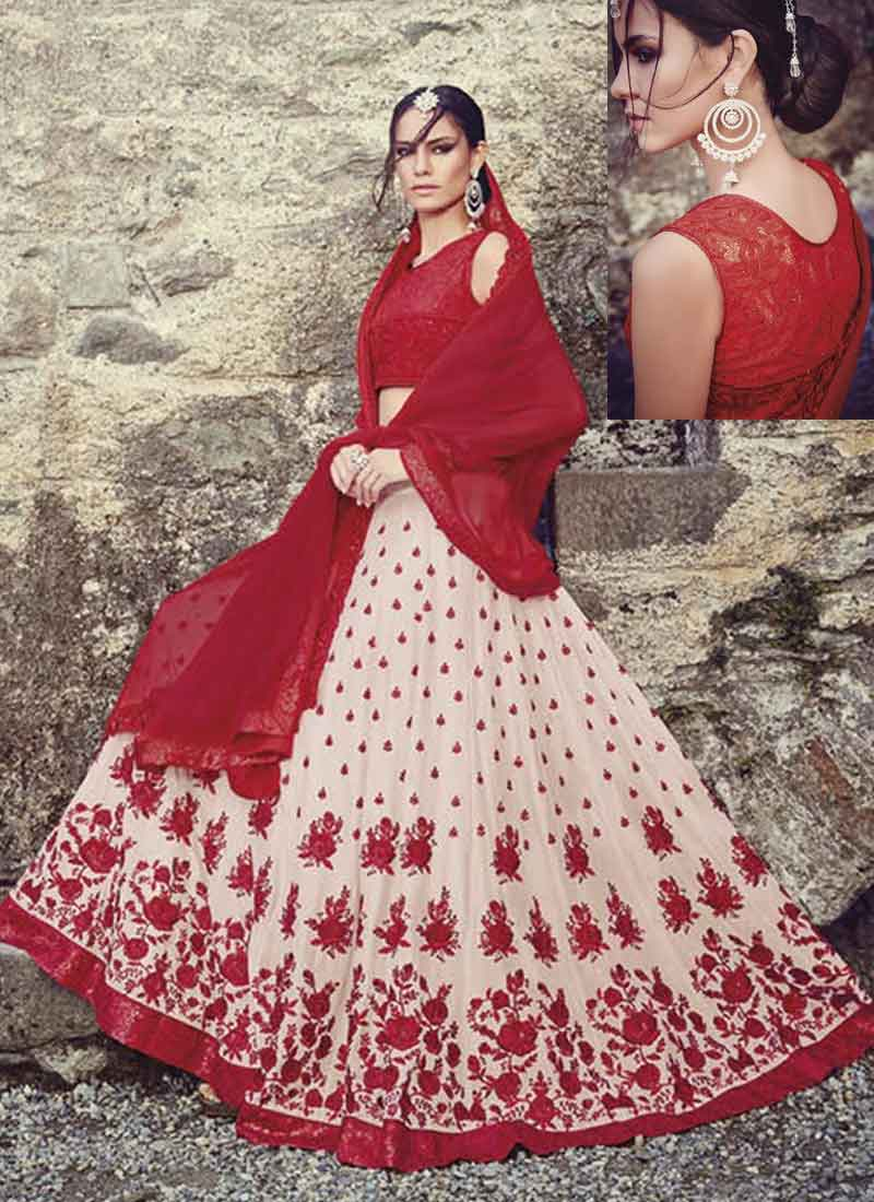 b94bc8295bed Radiant Red Off White Embroidery Thread Work Georgette Wedding Lehenga Choli