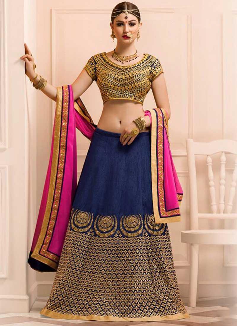 8a08ba5389 Pink Navy Blue Embroidery Work Banglori Silk Georgette Designer Lehenga  Choli