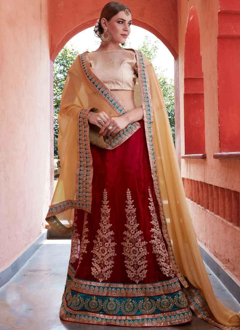 2e98cd73ec Cream Red Embroidery Work Net Chiffon Designer Party Wear Fancy Lehenga  Choli