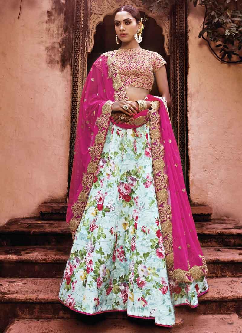7ae6081674d804 Sky Blue Pink Embroidery Work Printed Silk Georgette Wedding Lehenga Choli