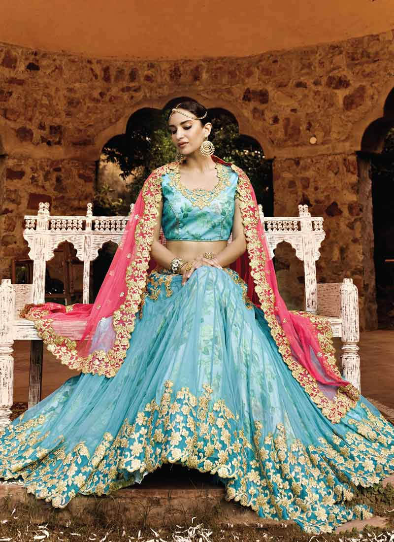 6a6a4882cf Turquoise Lace Border Stone Work Net Printed A-Line Party Wear Designer  Lehengas