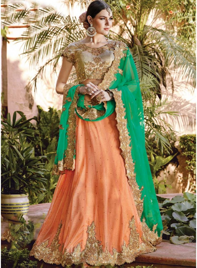 Peach Embroidery Sequins Work Stone Work Santoon Designer Party Wear Lehengas