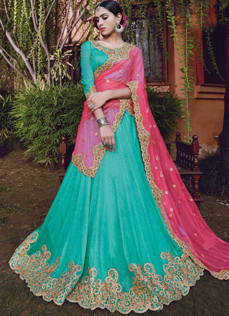Sky Blue Pink Embroidery Sequins Work Lycra Glitter Wedding Lehenga ...