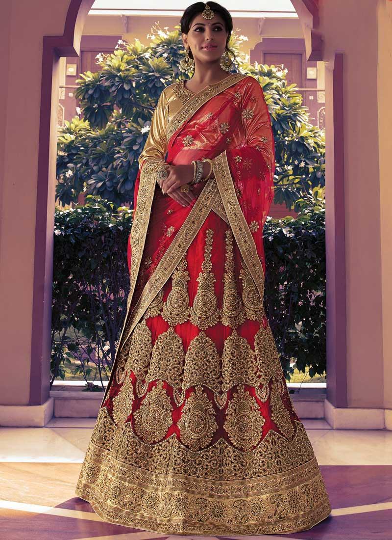 d416b486c940af Red Embroidery Zari Work Stone Work Lace Border Net Party Wear Lehenga Choli