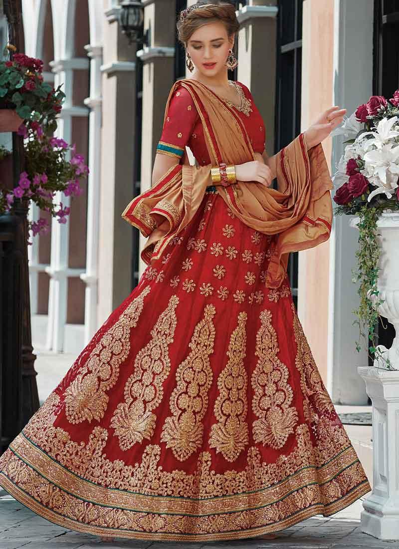 2c17210786 Red Cream Embroidery Stone Work Net Chiffon Wedding Designer Lehenga Choli