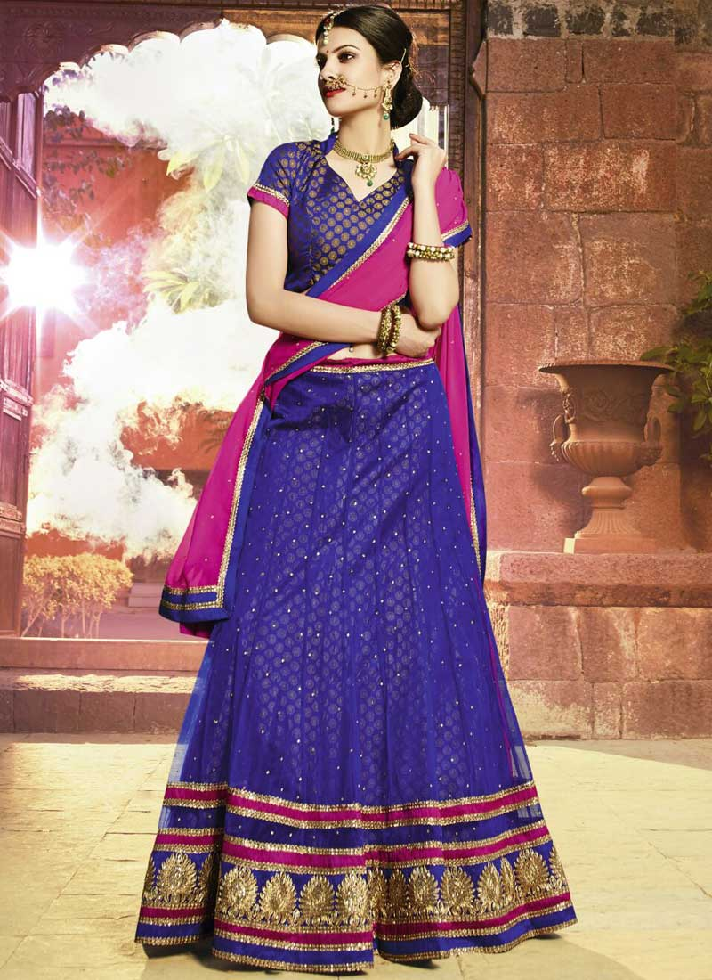 6f50fcee43 Special Festival Royal Blue Net With Zari Work Wedding Lehenga Choli ...