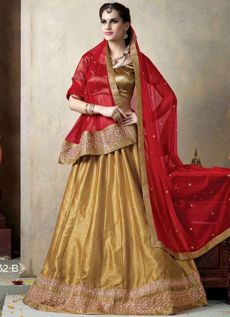 183aff74f6 Golden Silk Georgette Embroidery Patch Border Work Red Lehenga Choli ...