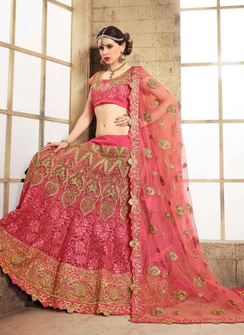 a6fdce0645 Hot Pink Embroidery Thread Work Net Wedding Lehenga Choli.Bridal Net ...