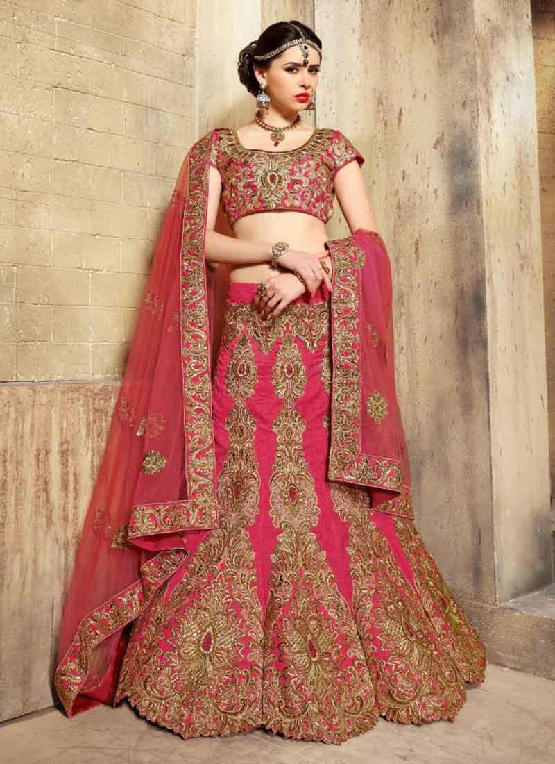 ffb7ffbb13 Marvelous Hot Pink Embroidery Work Diamond Work Bhagalpuri Silk Net Lehenga  Choli