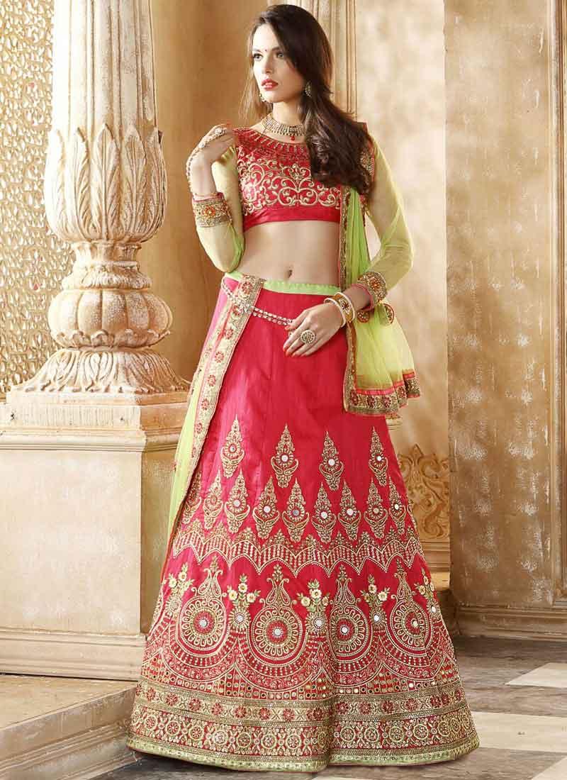 ed5b6d28eb Parrot Pink Embroidery Mirror Work Silk Net Wedding Designer Lehenga Choli