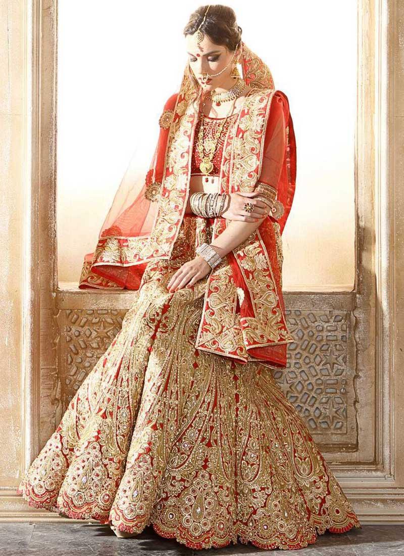 2a1c1f8f51 Red Embroidery Thread Work Silk Net Wedding Designer Bridal Lehenga Choli