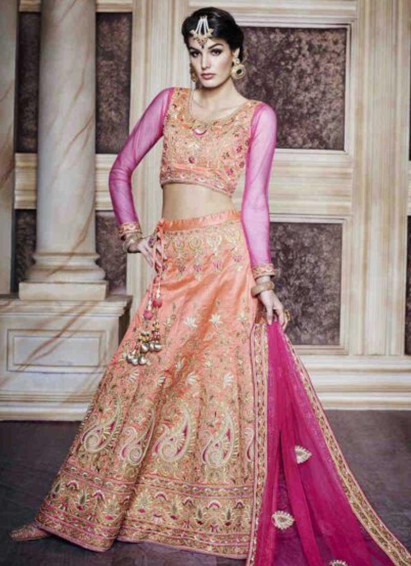 pink lengha wedding