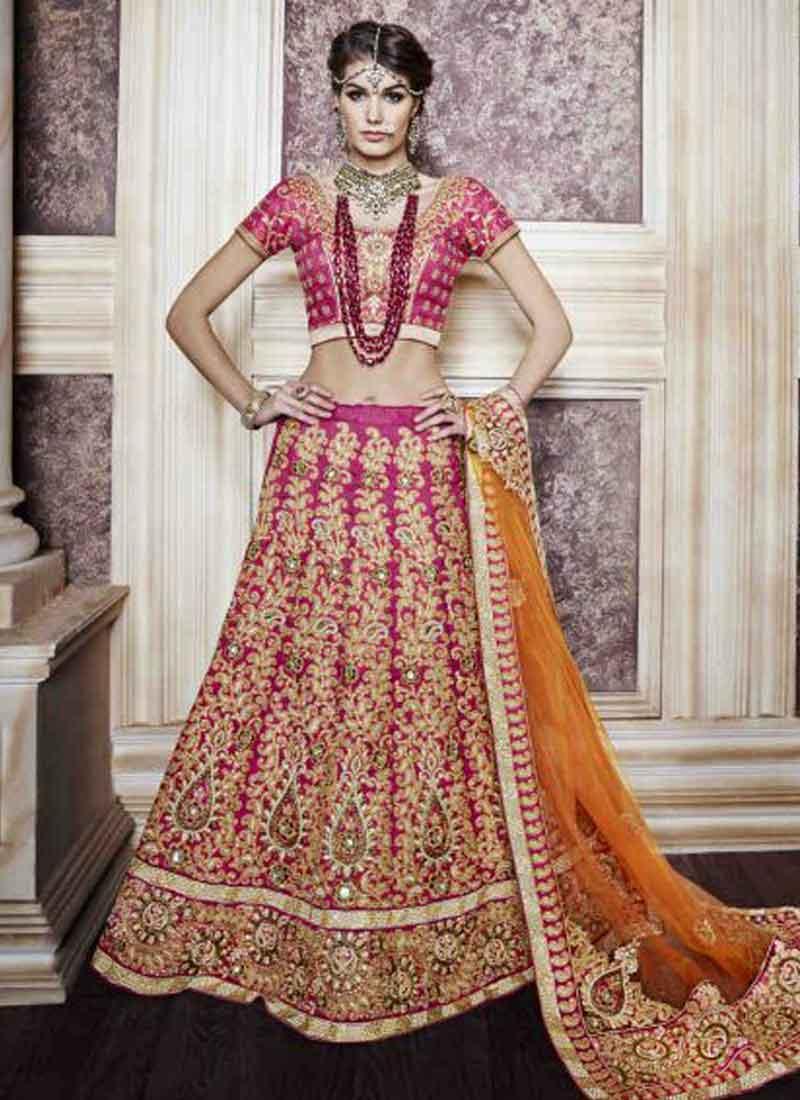 5dbf37bc11 Rani Pink Mustard Embroidery Diamond Work Net Silk Lehenga Choli For Wedding