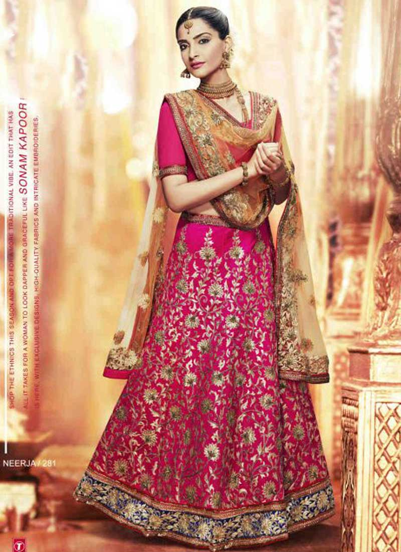 24e6f64e7a Sonam Kapoor Rani Pink Embroidery Work Silk Net Bollywood Bridal Lehenga  Choli