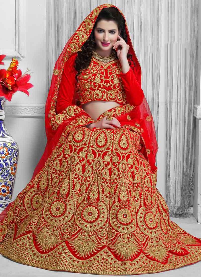47a0bd54fa Angelic Red Heavy Embroidery Sequins Work Banarasi Silk A-Line Lehenga Choli