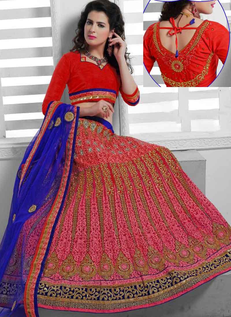 b8b5eccb018 Dazzling Red And Blue Satin And Net Bangalori Silk Designer Bridal Lehenga  Choli