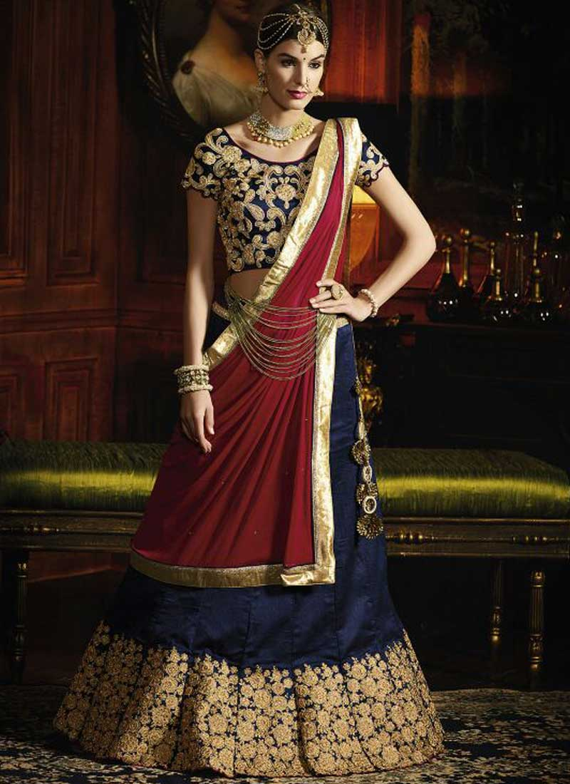 86dfafdef6 Maroon Navy Blue Embroidery Work Silk Chiffon Fancy Designer Wedding Choli