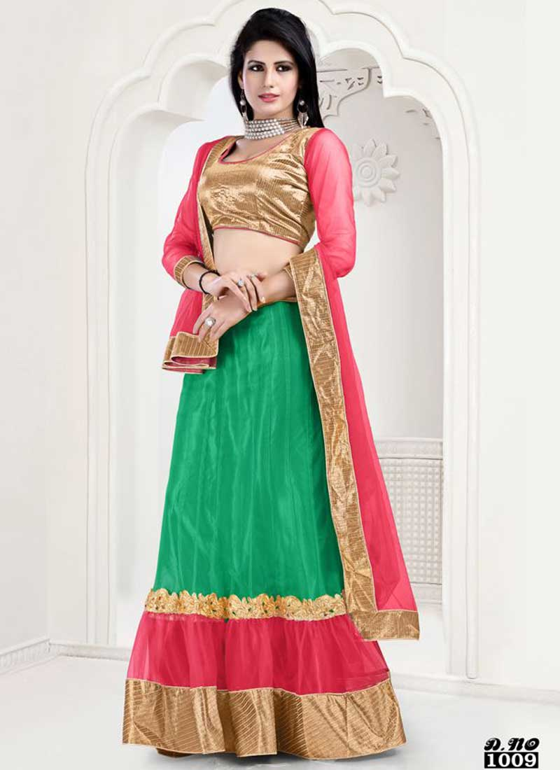606b455c05cf09 Delightful Green And Pink Net With Zari Work Lehenga Choli. Online ...