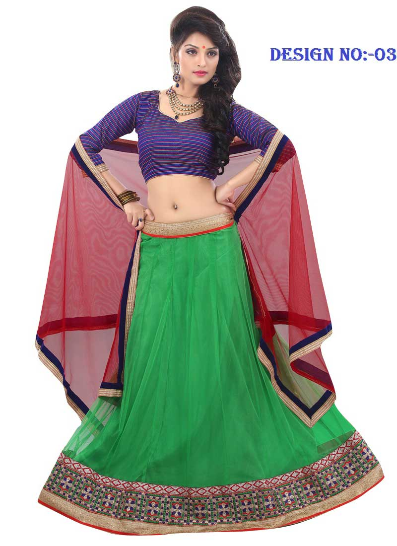 f0b93f0c6 Majestic Green And Red Net With Patch Border Work A Line Lehenga Choli