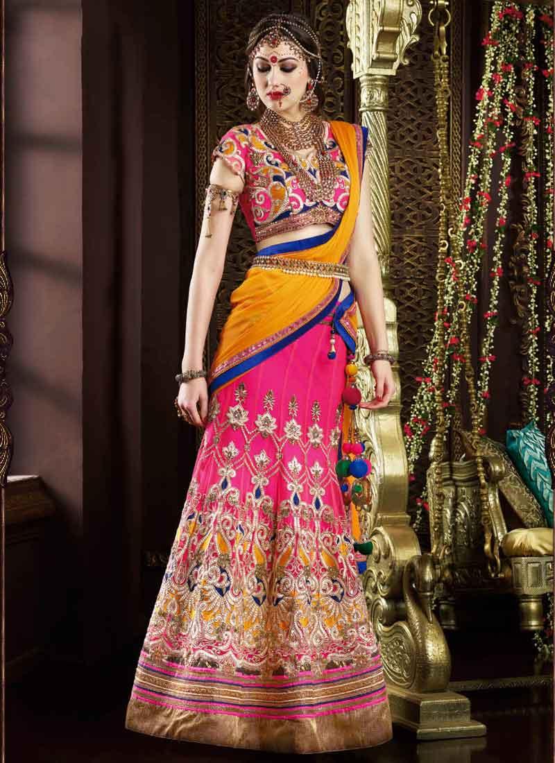 6f64f600d6 Hot Pink Mustard Embroidery Work Net Wedding Lehenga Choli.Designer ...