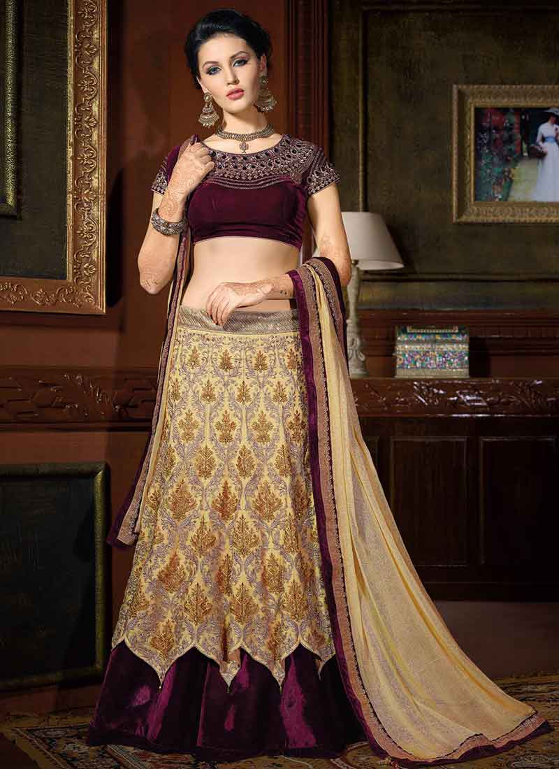 3fe7a90f30 Purple And Cream Net Designer Lehenga Choli. Buy Online Shopping At ...