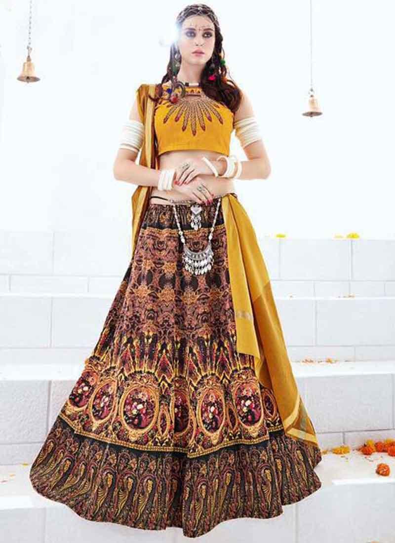 396660e9c0913 Mustard Hand Embroidery Printed Silk Crop Top Designer Fancy Lehenga Choli