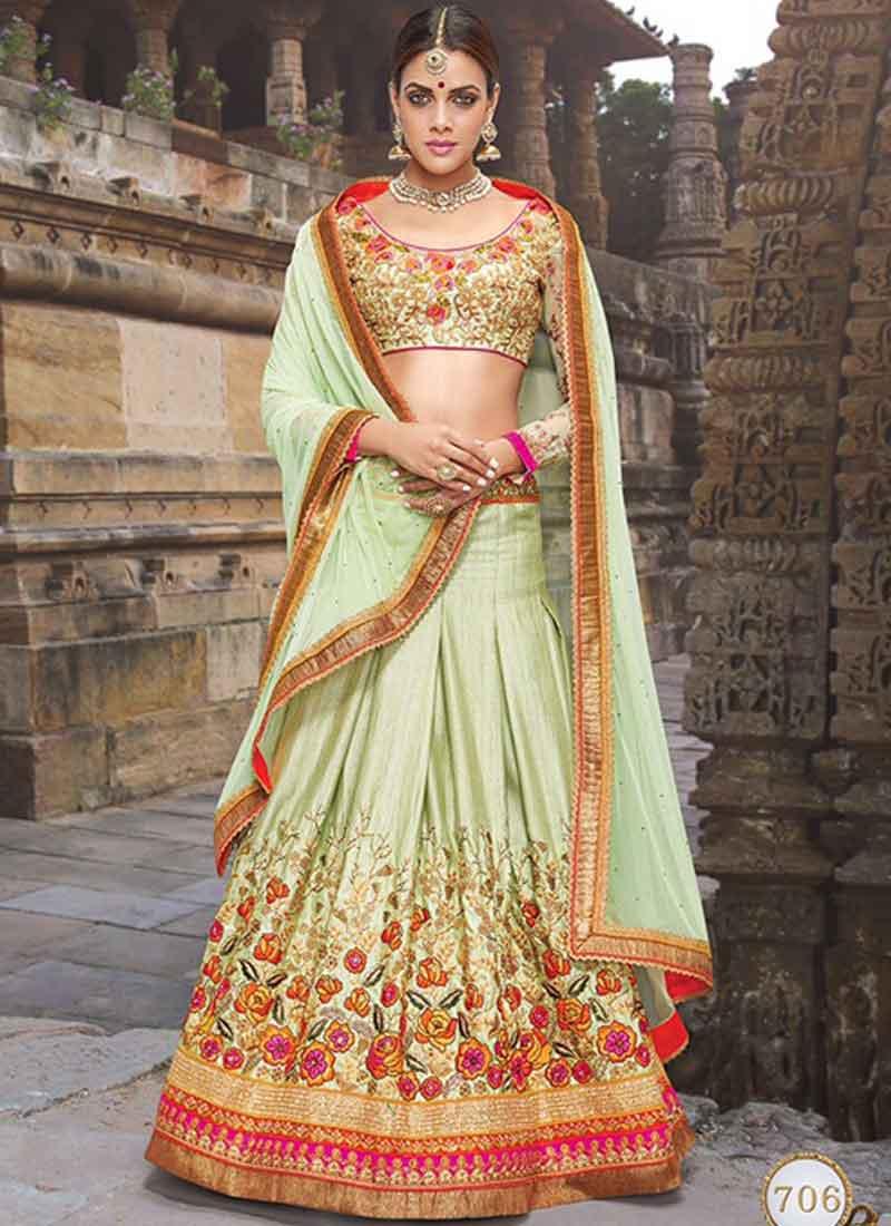 0462bf4ce5 Party Wear Sea Green Stone Work Bhagalpuri Georgette Designer Lehenga Choli