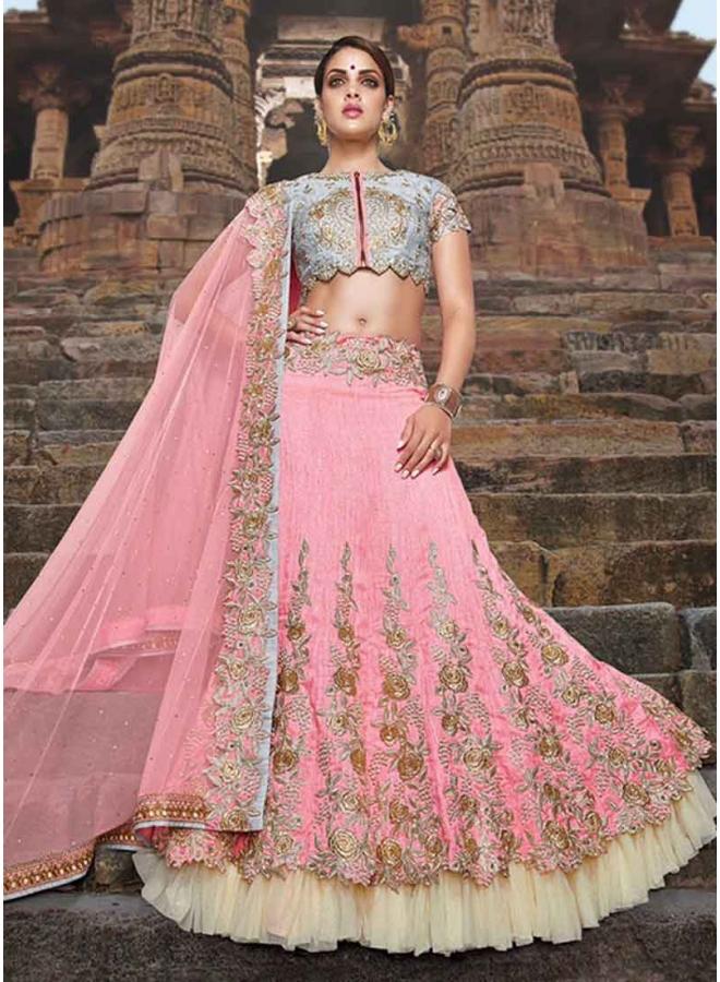 4f76bfcbc1 Pink Fancy Silk Embroidery Work Designer Lehenga Wedding Party Wear Lehenga  Choli