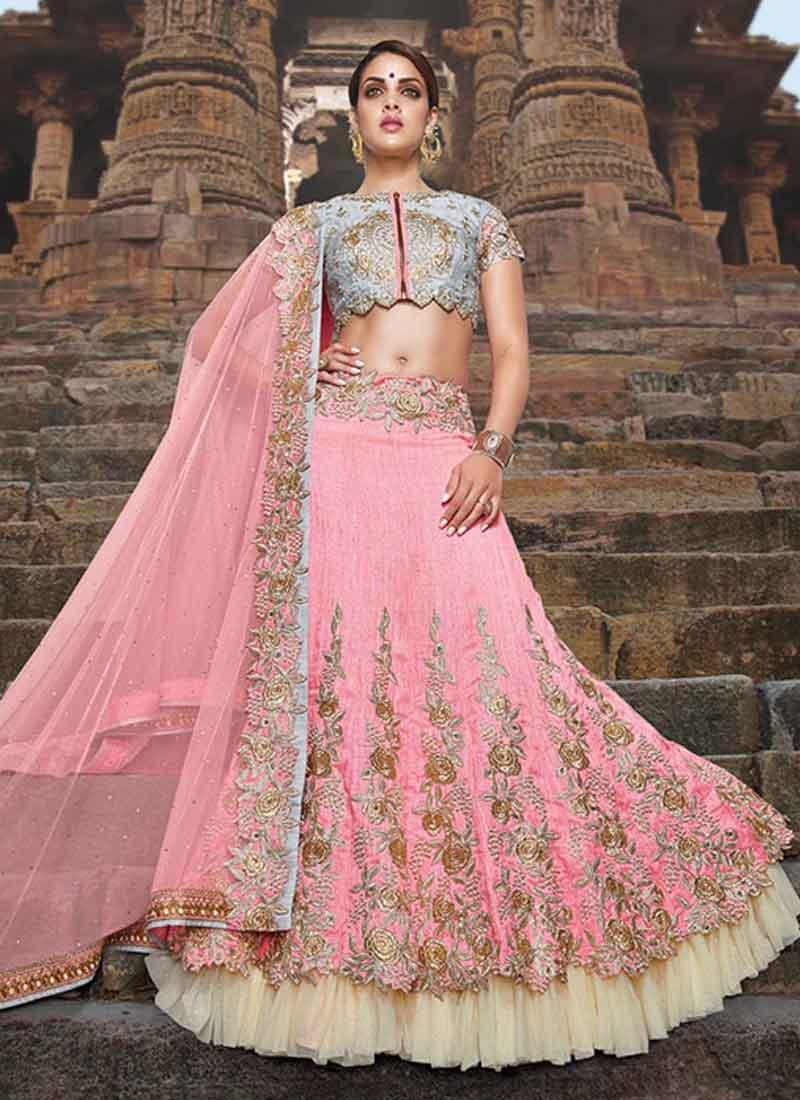 Pink Fancy Silk Embroidery Work Designer Lehenga Wedding Party Wear ...